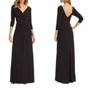 ⚡️SALE Tadashi Shoji Twist Front V Neck Gown Dress